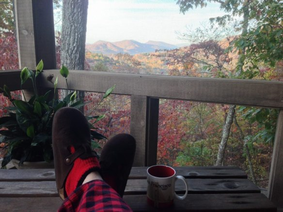 Slippers and coffee in the Georgia mountains