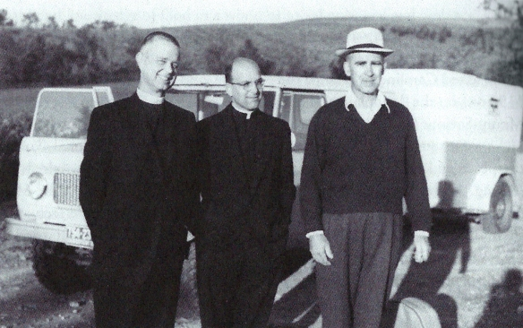 Father Aelred (left), Father Basil, and Father Placid en route to the Chama Canyon, circa 1964.